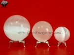 Selenite Spheres With Stand